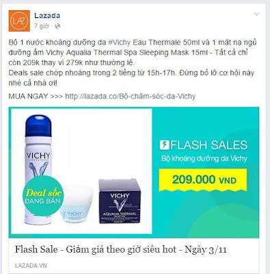 Lazada là một ví dụ tiêu biểu cho cách viết bài bán hàng trên facebook đạt hiệu quả
