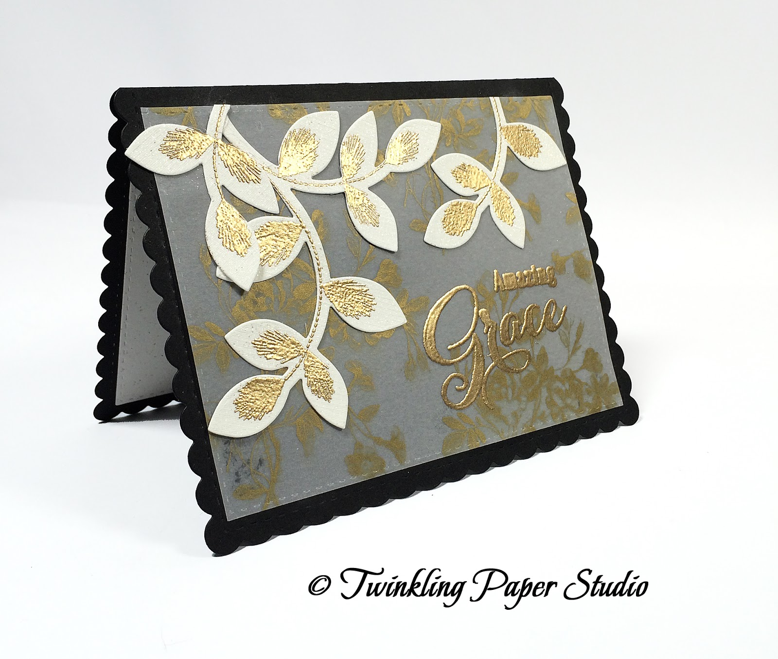 Cream colored cardstock paper studio - I Started By Cutting A Card Base From True Black Cardstock Using The Noted Scalloped A2 Dies I Wanted To Keep The Look Ultra Chic And Elegant So I Looked