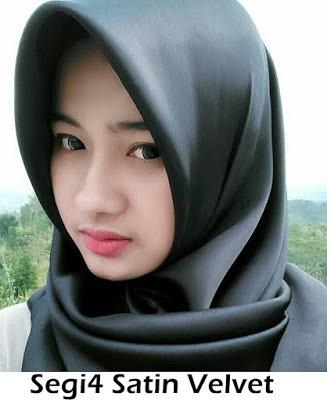 Model Jilbab Terbaru Segiempat Satin Velvet