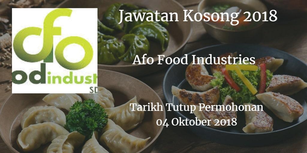 Jawatan Kosong Afo Food Industries 04 Oktober 2018