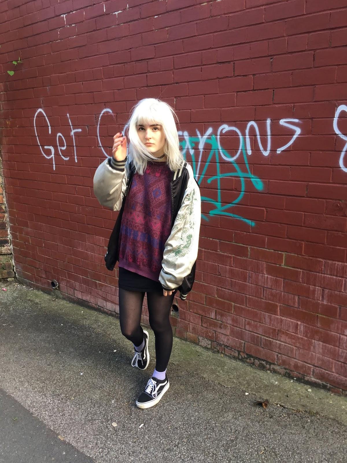 girl wearing vintage jumper, vans and sukajan
