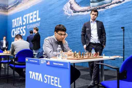 L'Indien Viswanathan Anand remporte sa deuxième victoire dans le tournoi face à l'Américain Fabiano Caruana et rejoint Giri en tête avec 2,5 points sur 3 - Photo © Alina L'Ami