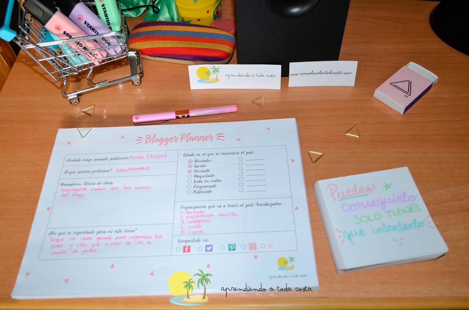 Planificador para bloggers