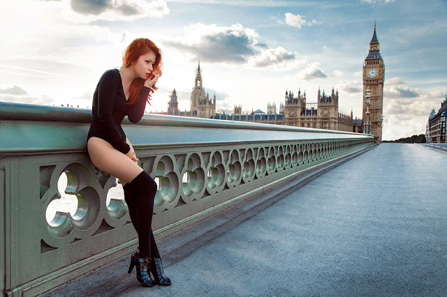 Ben Heine Photography - Caroline Madison - Westminster Bridge, London