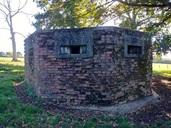 Photograph of The north face of the type 24 pillbox in the fields of Boltons Park Farm  Image by the North Mymms History Project released under Creative Commons BY-NC-SA 4.0