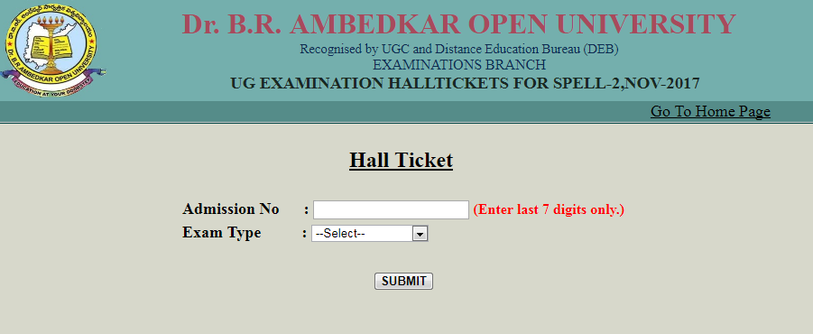 Dr.B.R.Ambedkar Open University BRAOU Degree Spell 2 Hall Tickets Download 2017