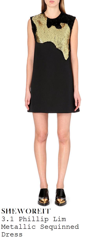 sarah-jane-crawford-black-gold-sequin-front-sleeveless-shift-mini-dress-xtra-factor