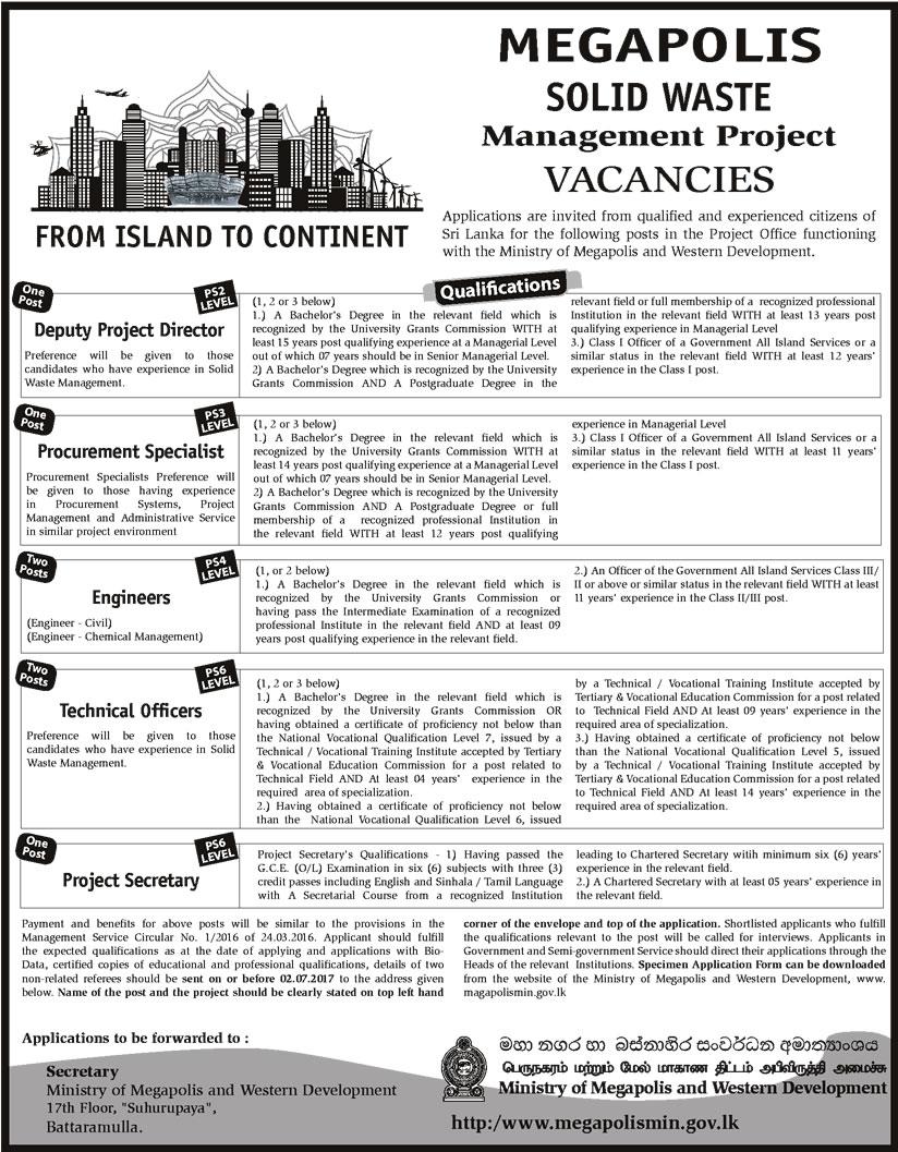 Jobs Vacancies Deputy Project Director Procurement Specialist – Procurement Director Jobs