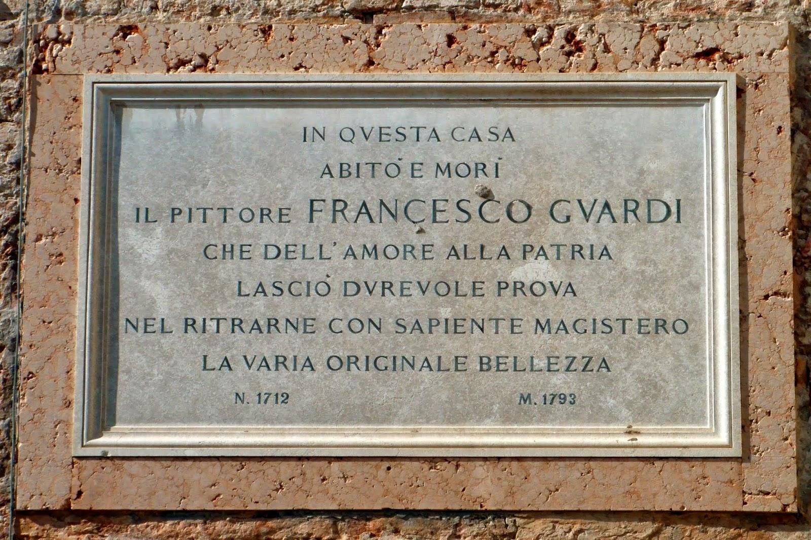 Plaque to Francesco Guardi, Venice