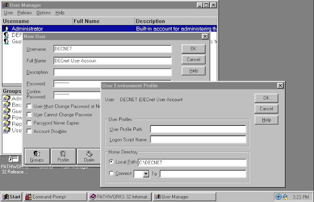 Supratim Sanyal's Blog: DECnet Windows NT 4.0 Pathworks Setup - Add a DECNET user for Windows NT 4.0 for testing with DEC Pathworks DECnet services