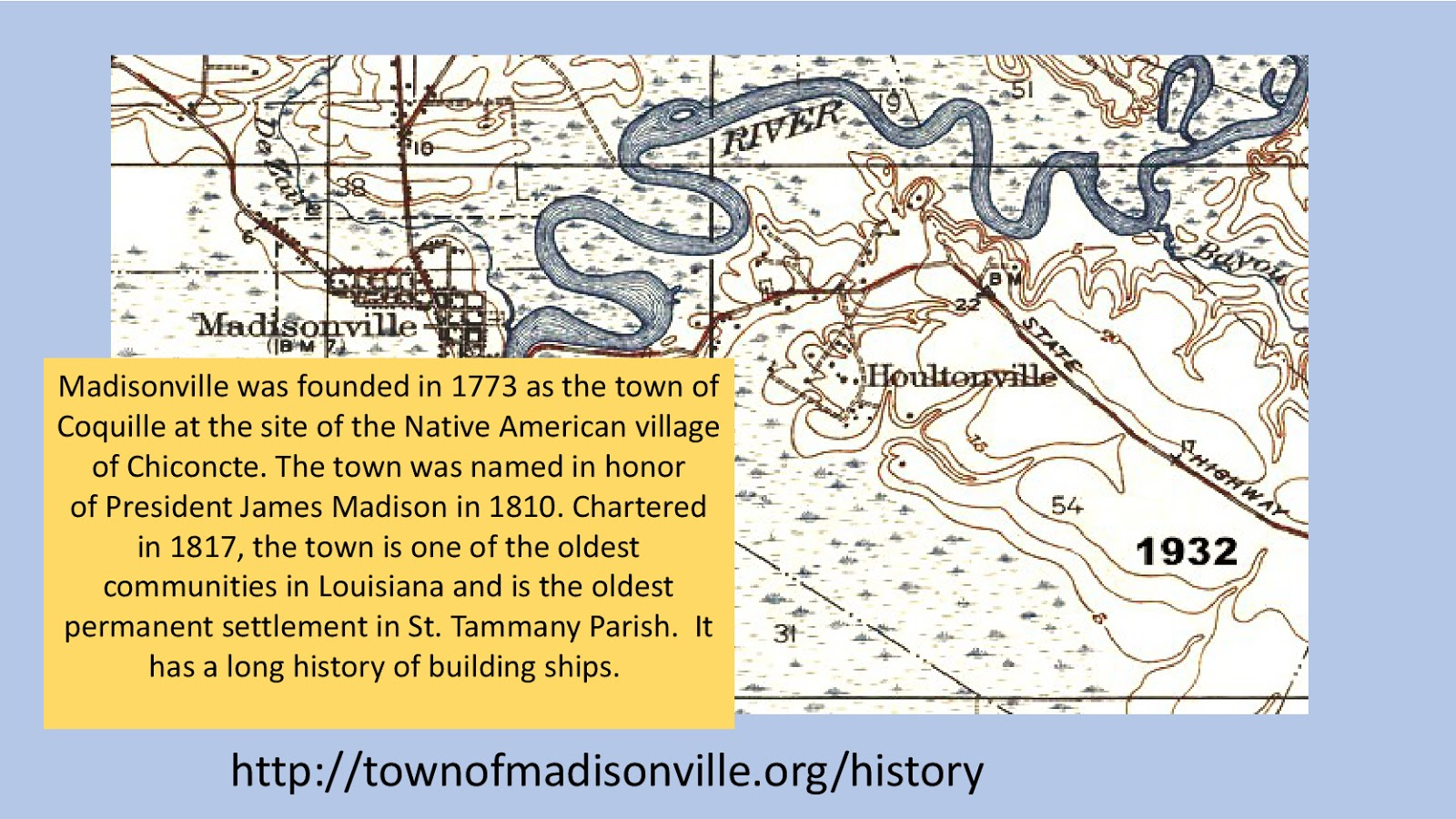 this map shows the tchefuncte river flowing past madisonville the oldest permanent settlement in st tammanny parish and one of the oldest communities in