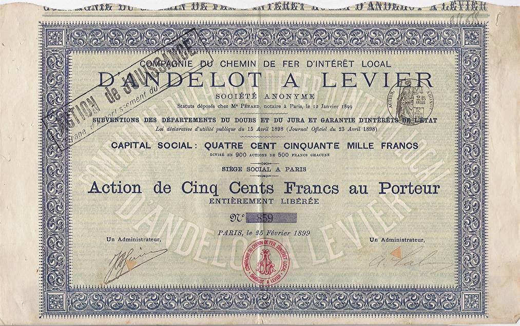 share certificate from  the Compagnie Du Chemin de Fer d'Intérêt Local D'Andelot a Levier