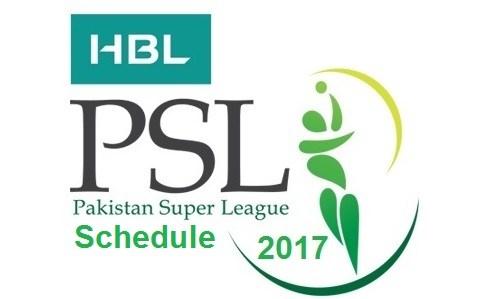 PSL 2017 Schedule, Timetable & Fixtures, Pakistan Super League 2017
