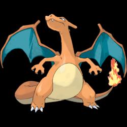 Imagen de Charizard, Pokemon con forma de dragón europeo, color naranaja, alas verdes, y en la punta de la cola una llama.