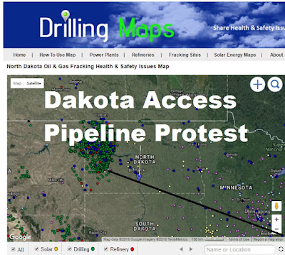Map of Dakota Access Pipeline Protest Location & Pipeline