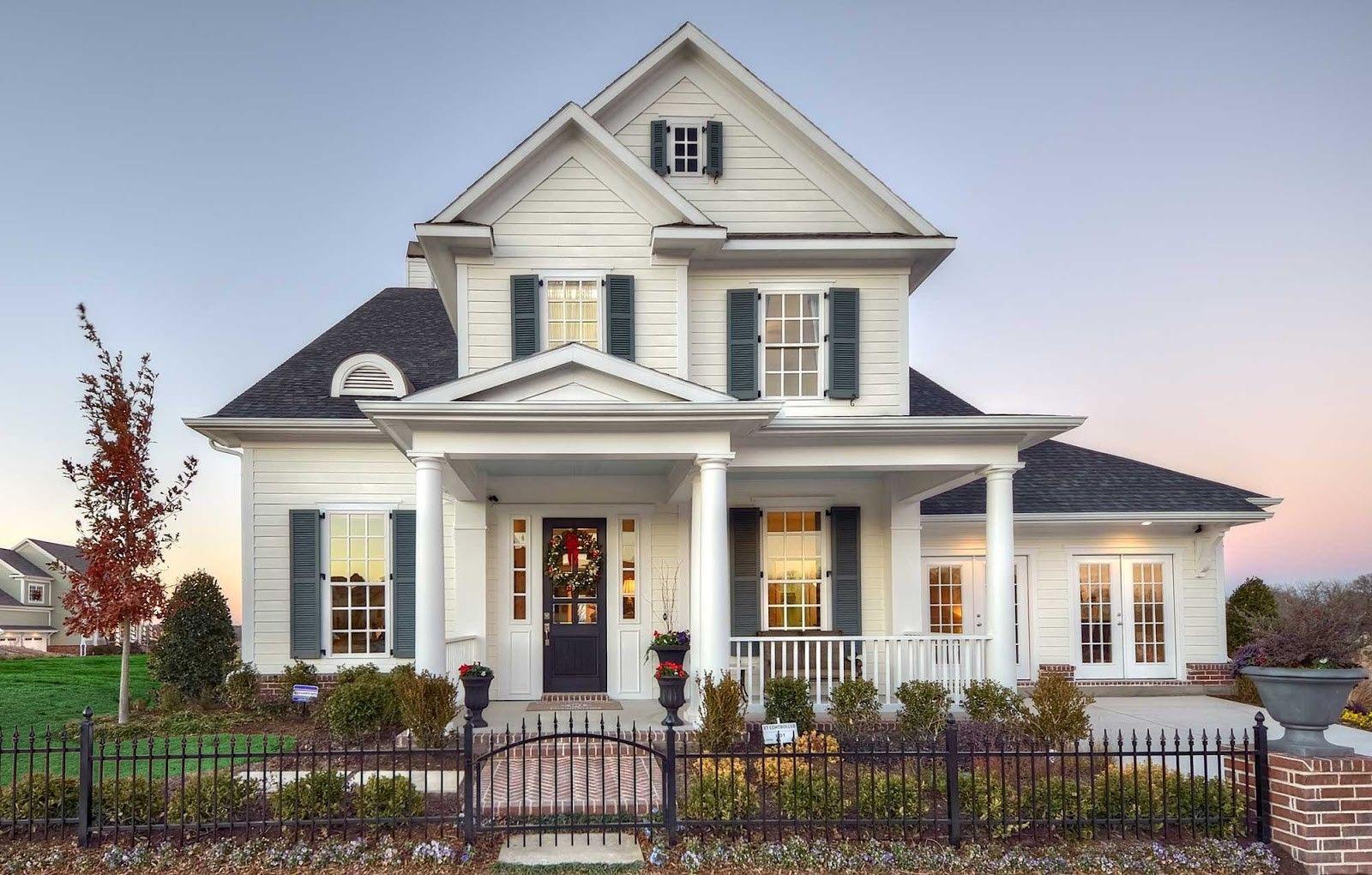 model sketsa rumah eropa dua lantai terlihat menawan