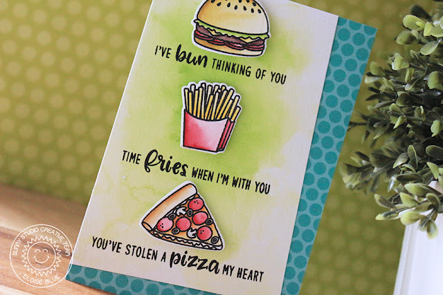 Sunny Studio Stamps: Fast Food Fun Layered Sentiment Love Themed Card by Eloise Blue