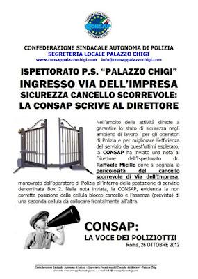 Comunicato CONSAP Palazzo Chigi del 26 Ottobre 2012