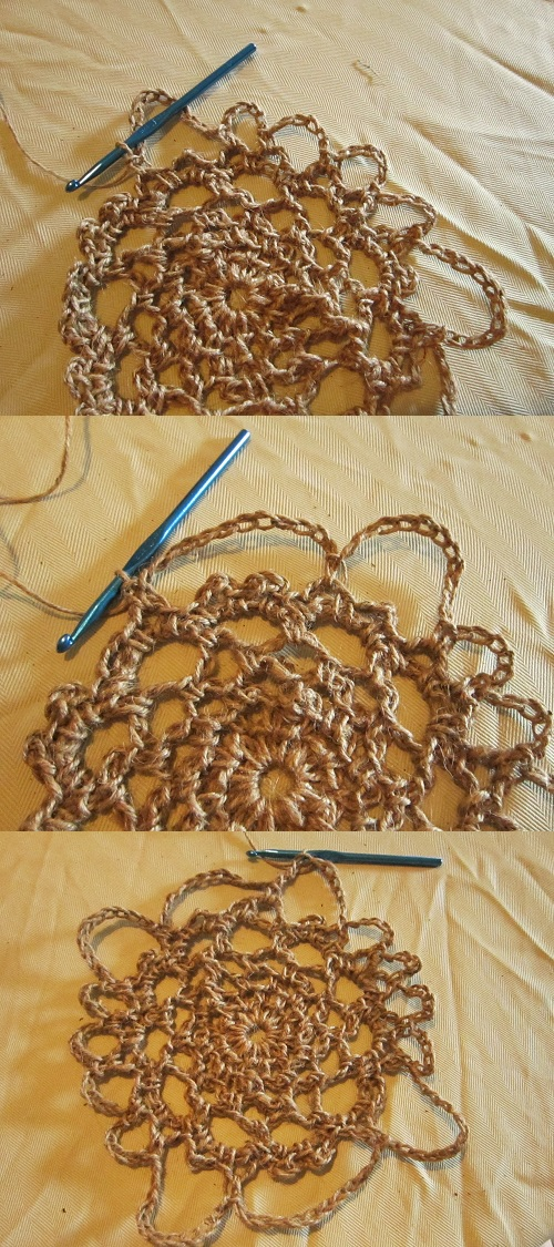 doily, twine, jute, crochet, free pattern