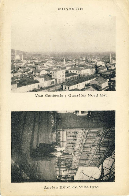 "Panorama of the city to the northeast, and the building of today's Gymnasium. Errors on the French postcards are very common, such as the one here in which the Gymnasium is called ""Old Turkish hotel."""