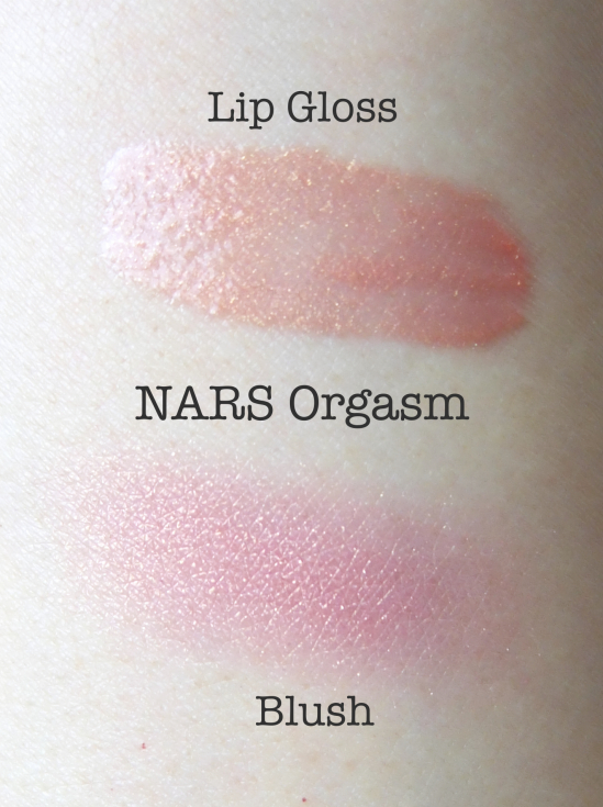NARS Orgasm Blush Lip Gloss Swatch