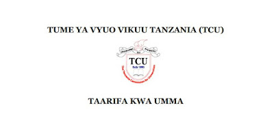 The Tanzania Commission for Universities (TCU): PUBLIC NOTICE