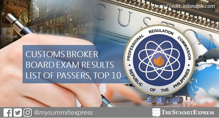 November 2017 Customs Broker board exam passers list, top 10