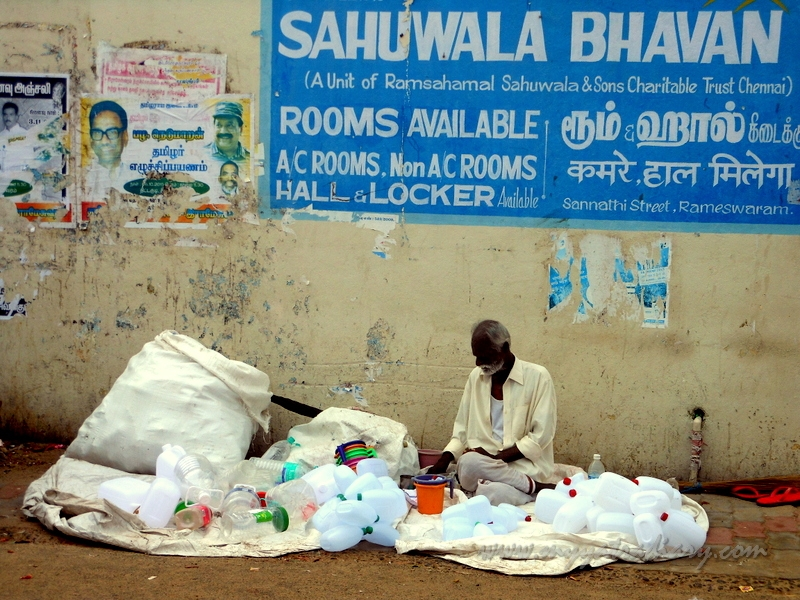 A man sells his wares in the streets of Rameshwaram, Tamil Nadu