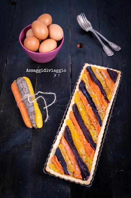 Quiche al gorgonzola e carote candite