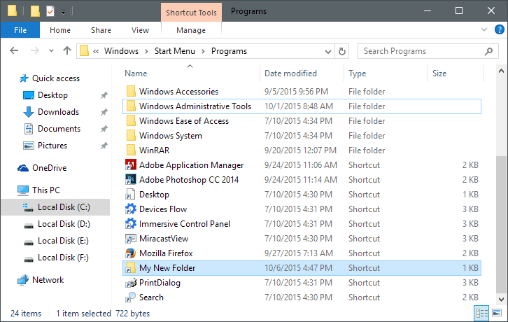 Manually Add a Folder to the All Apps List in Windows 10