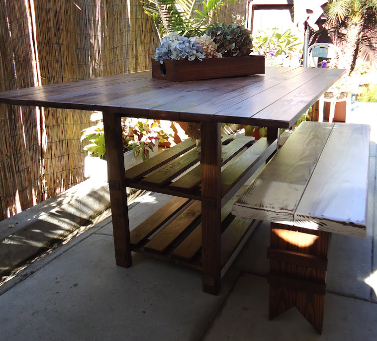 Dining Table with Storage and Farmhouse Bench - SOLD