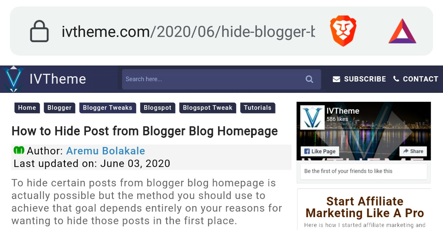 Blogger blog post page
