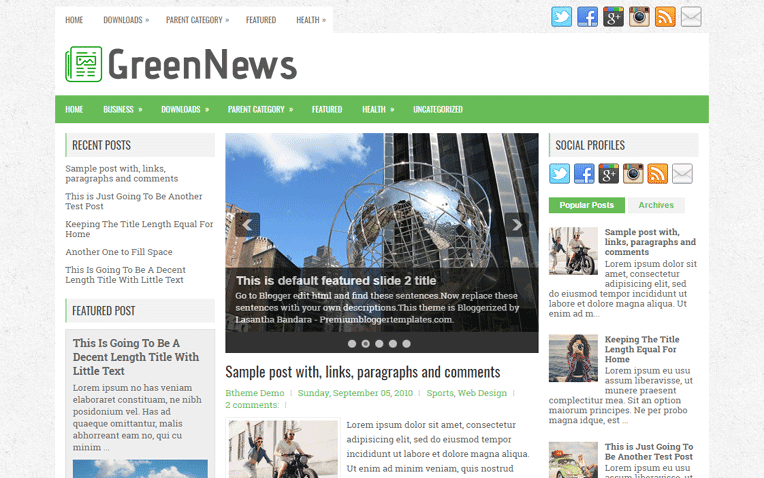 GreenNews Free Blogger Template