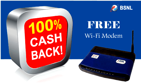 BSNl cash back offer on WiFi modems