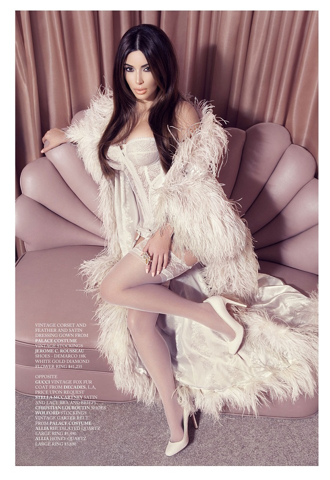 Kim Kardashian flaunts lingerie, pearls and fur for Factice magazine, 2012-13 issue