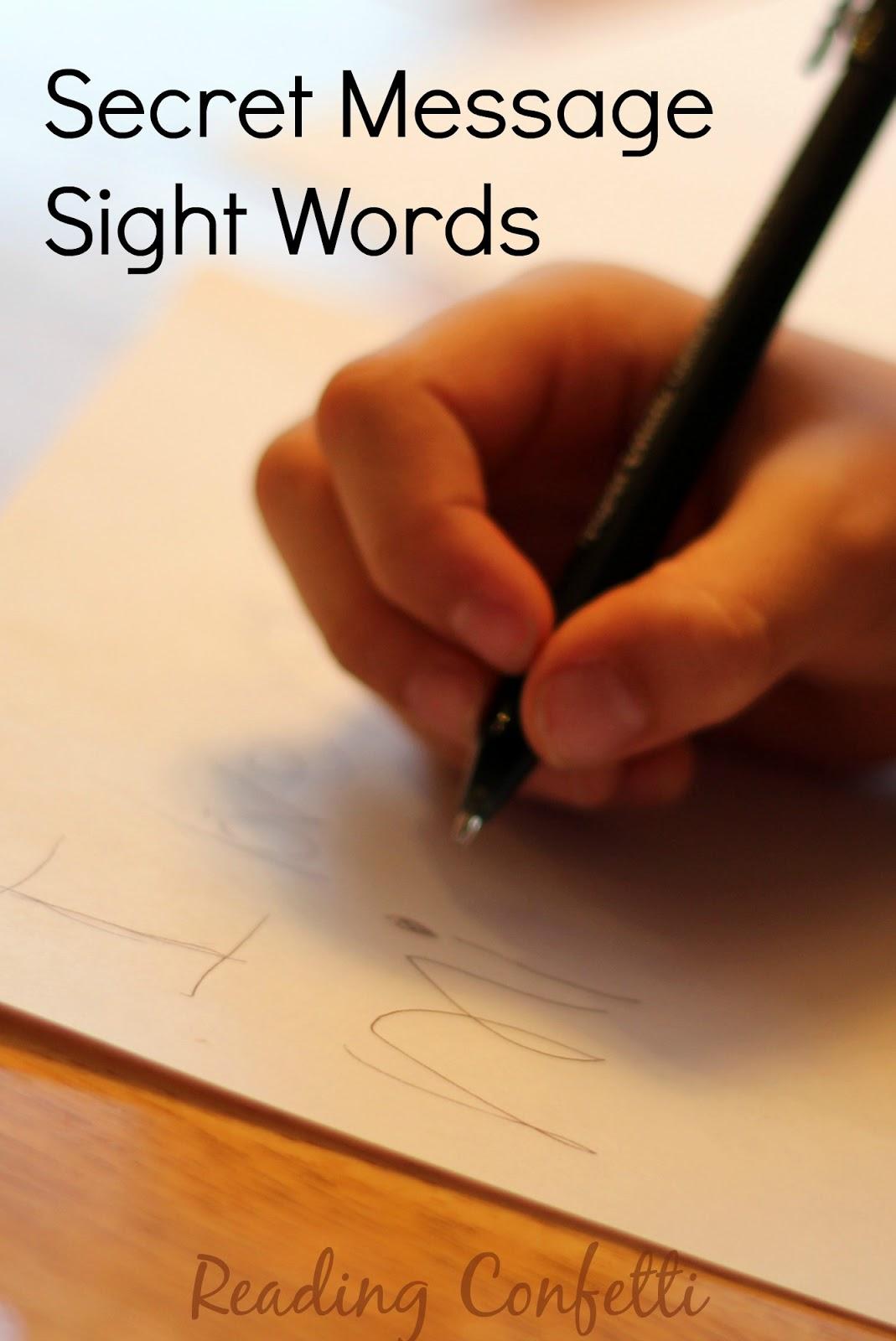Secret Message Sight Words Reading Confetti