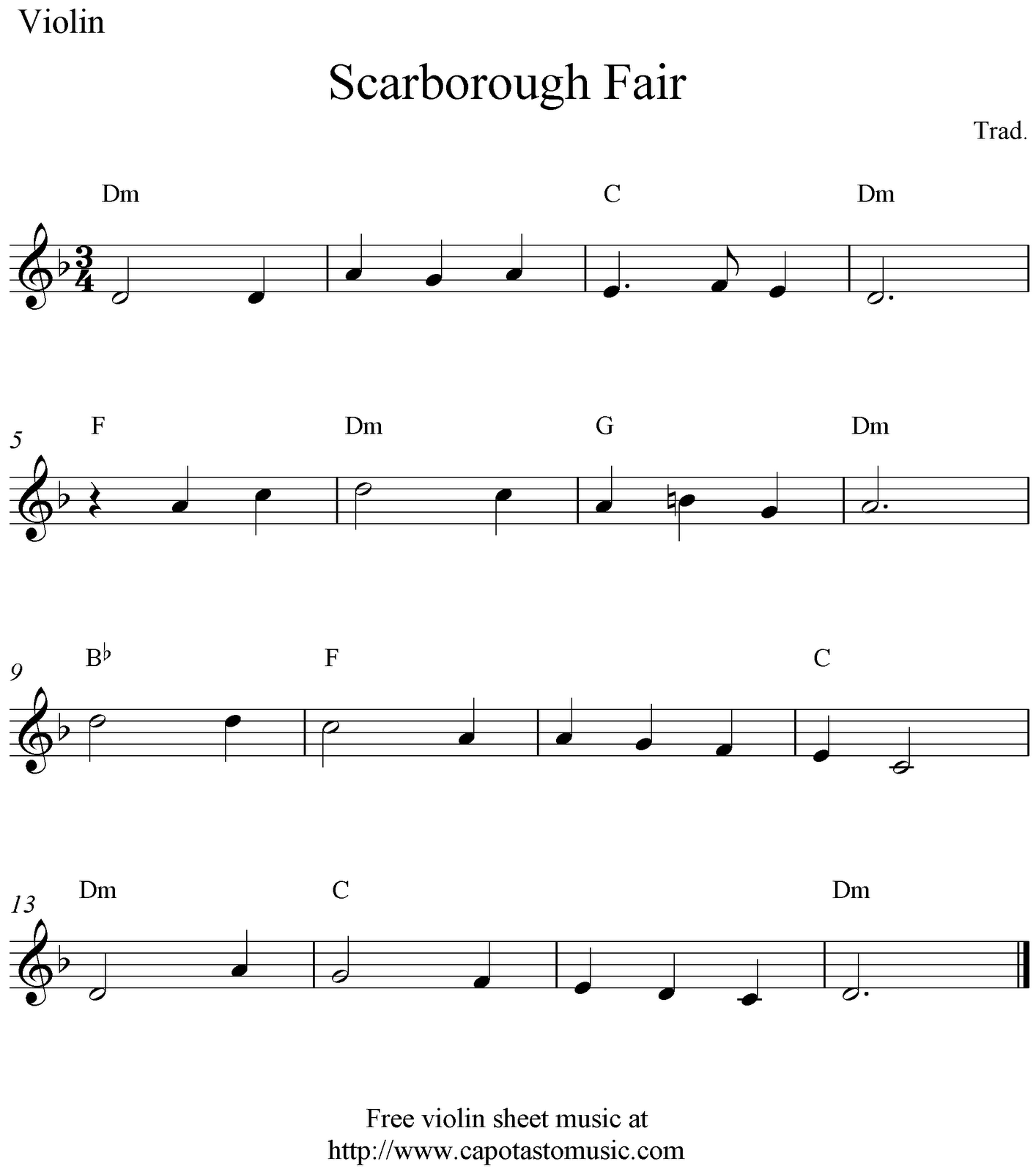 Scarborough Fair, Free Violin Sheet Music Notes