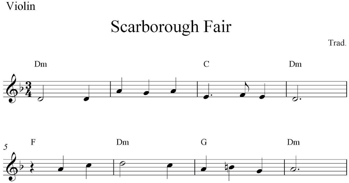 Piano scarborough fair piano sheet music : Scarborough Fair, free violin sheet music notes