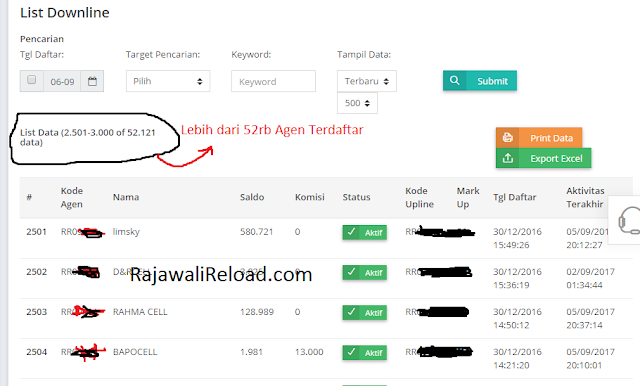 Data Downline Rajawali Reload