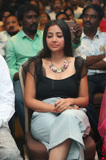 Swetha Basu in a Black Sleeveless Top Long Skirt at Mixture Potlam Movie Audio Launch 005.JPG