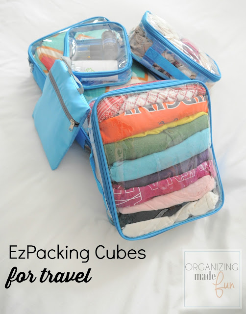 Packing cubes by EzPacking that can hold a LOT of clothes when traveling :: OrganizingMadeFun.com