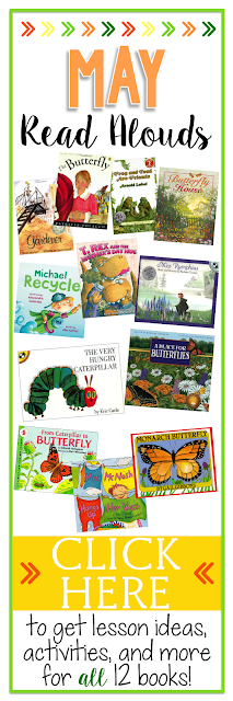 May Read Alouds - get lesson ideas, activities, and more for 12 spring books your kids will love!