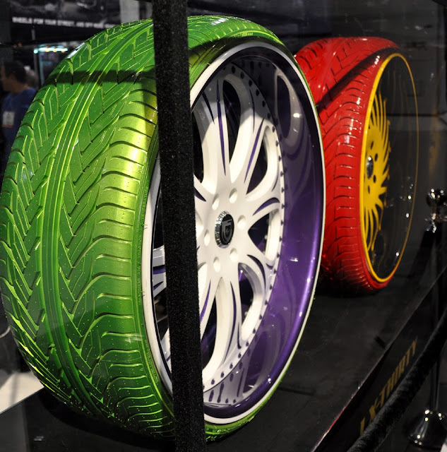 Just A Car Guy: oddball colored tires and rims