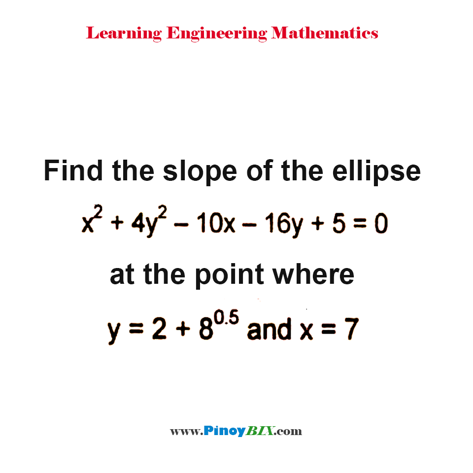 Find the slope of the ellipse x^2+4y^2–10x–16y+5 = 0 at the point where y = 2+8^0.5 and x = 7.