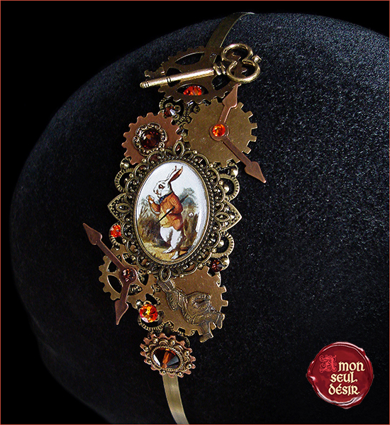 serre tête alice au pays des merveilles le lapin blanc accessoire bijoux cheveux white rabbit headband hair jewelry alice in wonderland