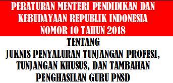 Permendikbud Nomor 10 Tahun 2018 Tentang Juknis TPG, Tunjangan Khusus, Dan Tambahan Penghasilan Guru Pegawai Negeri Sipil Daerah Tahun 2018-2019