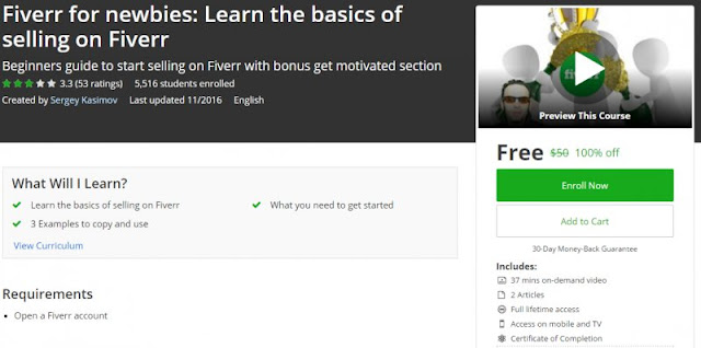 [100% Off] Fiverr for newbies: Learn the basics of selling on Fiverr| Worth 50$
