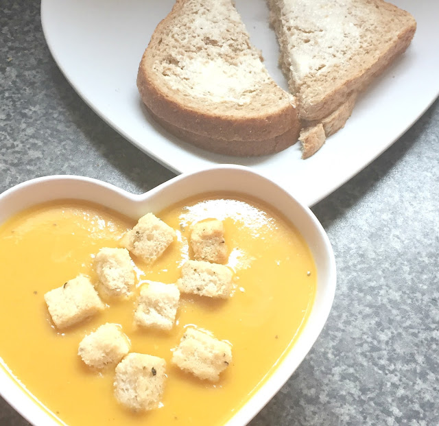 Butternut squash soup and wholemeal bread and butter