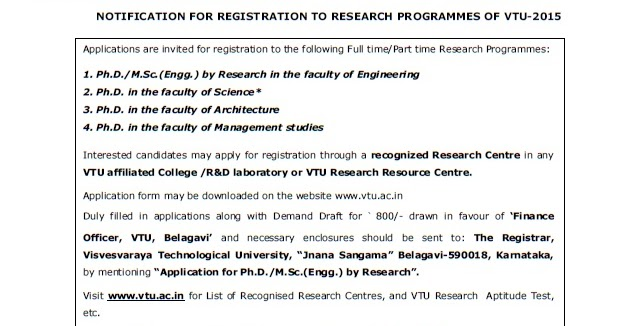 Doctor of Philosophy (Ph D): VTU Ph D Notification 2015