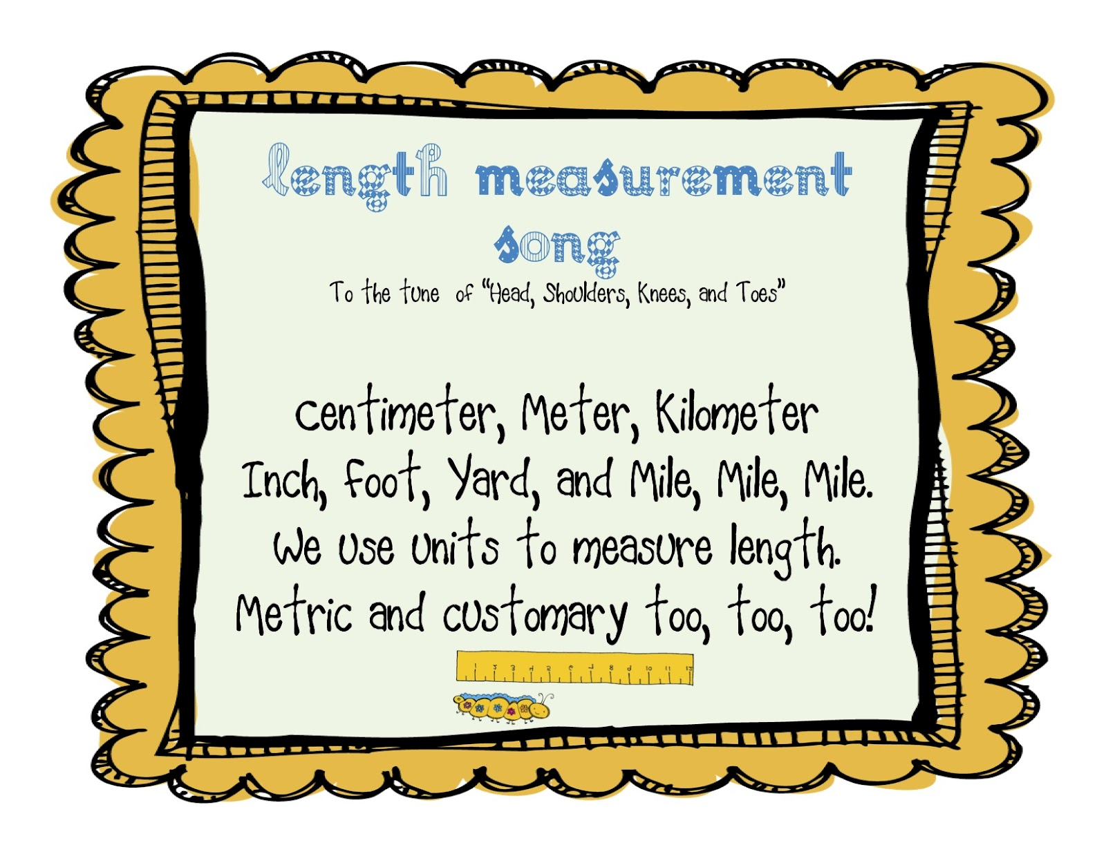 Buzzing With Ms B Measurement Mania Length Song Freebie